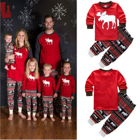 Christmas Kids Baby Girl Boy Reindeer Home Sleepwear Nightwear Pajamas Set 2T-7T ()