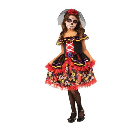 Dead Bride Costumes For Kids (Halloween Day of The Dead Girl's)