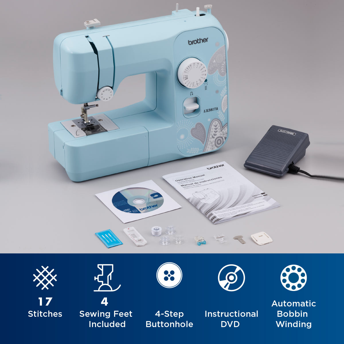 Brother LX3817A Sewing Machine White//Blue 17 Stitch Functions Full Size NIB