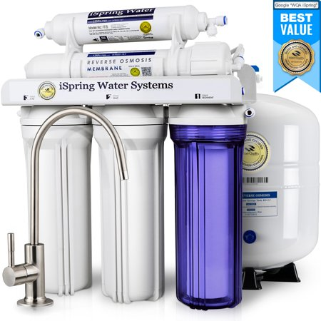 Undersink Reverse Osmosis - iSpring Reverse Osmosis Drinking Water Filter System - 75GPD WQA Gold Seal Certified 5-stage RCC7