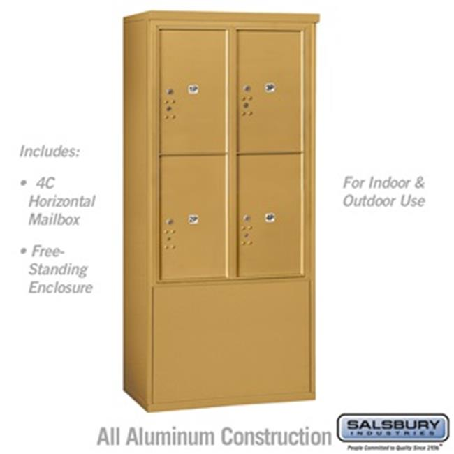 Salsbury 3912D-4PGFU 69 - 0.25 in. 12 Door High Unit Double Column Stand Alone Parcel Locker 4 PL6s Front Loading Free Standing 4C Horizontal Mailbox Unit, Gold - USPS Access