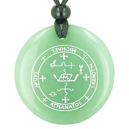 Green Rutilated Quartz Necklace - Sigil of the Archangel Michael Magical Amulet Green Quartz Pendant Necklace