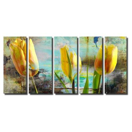 Ready2HangArt Painted Petals I Canvas Wall Art - 5 pc. Set