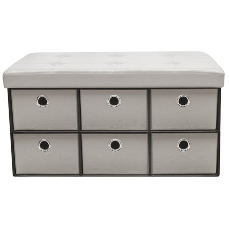 - Sorbus Storage Bench Chest with Drawers Collapsible Folding Bench Ottoman with Cover, Faux Leather