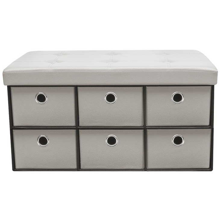 Sorbus Storage Bench Chest with Drawers Collapsible Folding Bench Ottoman with Cover, Faux Leather