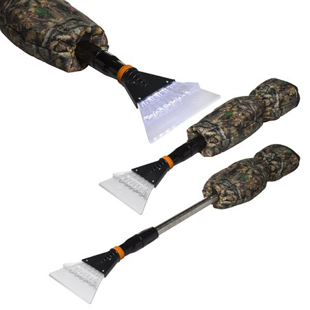 2 Pack IIT Telescoping Car Window Ice Scrapers With Camo Hand Warmer Mitts Gloves LED Lights - Gloves With Led Lights