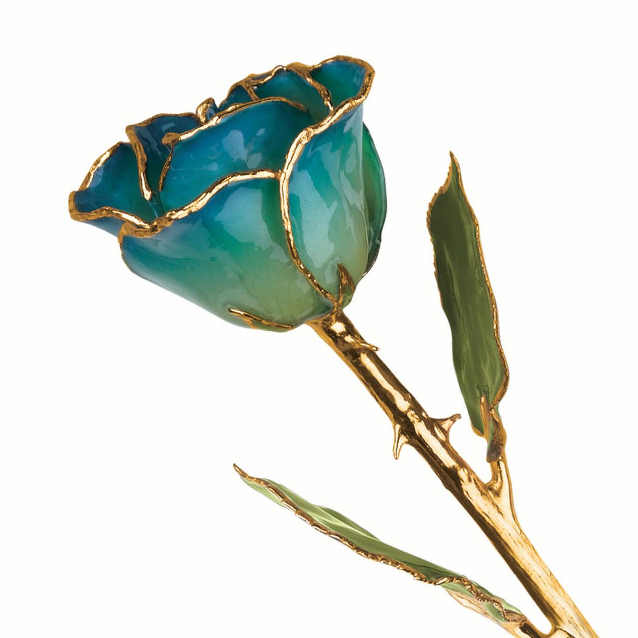 Lacquer Dipped Gold Trim Green Peridot Navy Pearl Rose Figurine Orchid Leaf K Trimmed Keepsake Floral Home Decor Flower For Women