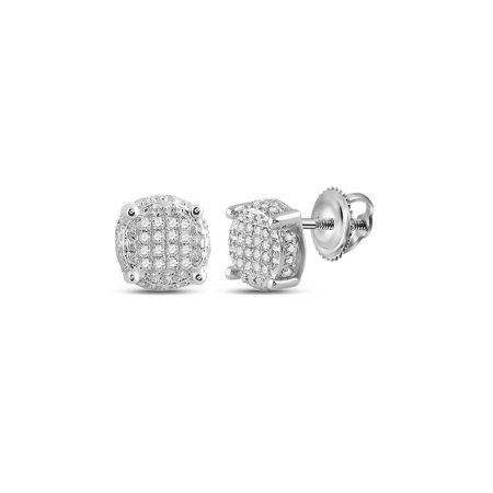 10kt White Gold Mens Round Diamond Circle Disk Cluster Earrings 1/10 Cttw