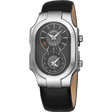 Philip Stein Men's Signature Black Leather Band Steel Case Swiss Quartz Silver-Tone Dial Watch 200SDGCBK ()