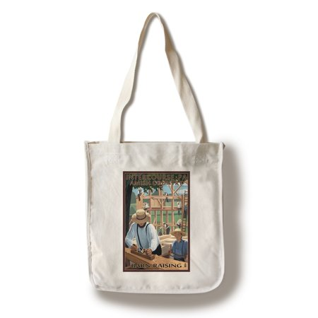 Intercourse, Pennsylvania - Amish Barn Raising - Lantern Press Poster (100% Cotton Tote Bag - Reusable)