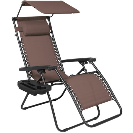 Best Choice Products Folding Zero Gravity Recliner Lounge Chair W  Canopy Shade   Magazine Cup Holder  Brown