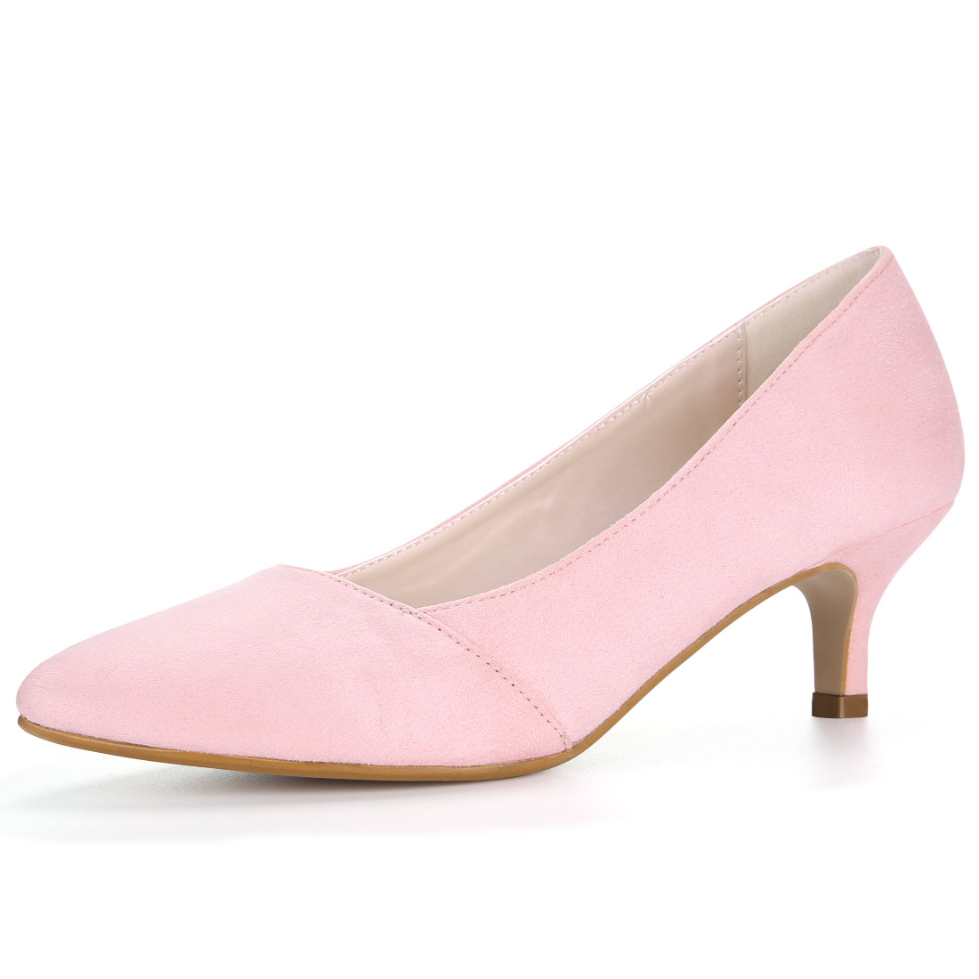 HF-27 Women Pointed Toe Mid Stiletto Heel Pumps Pink/US 9.5 - image 7 of 7