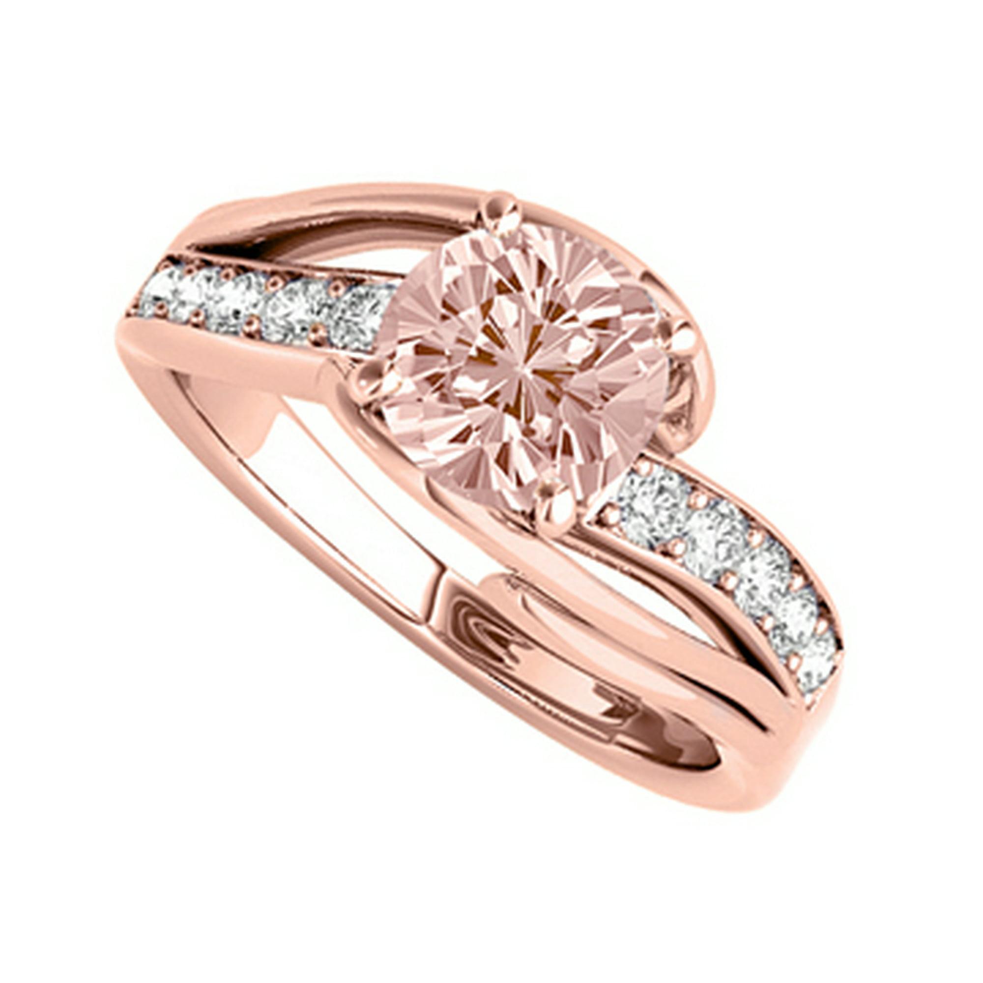 5432d4b9b9f8e Split Shank Morganite CZ Ring in 14K Rose Gold Vermeil