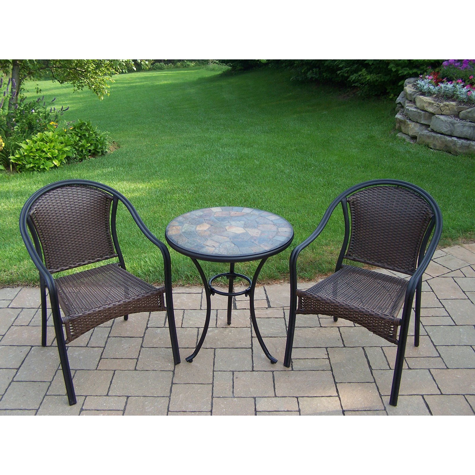 Oakland Living Aged Mosaic Stone Top Bistro Set