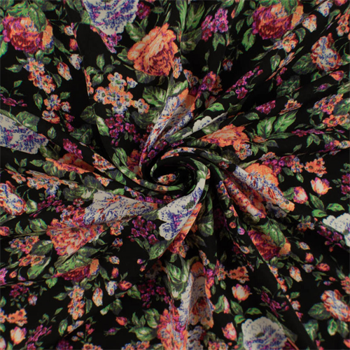Black/Multi Floral Print Polyester Challis, Fabric By the Yard
