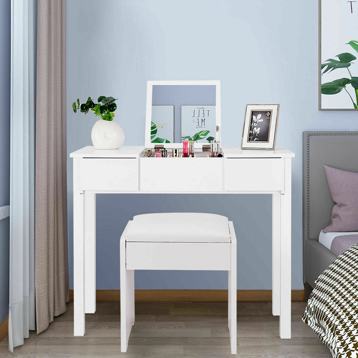 Costway White Vanity Dressing Table Furniture Stool Storage Box Walmart Com Walmart Com