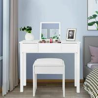 Costway White Vanity Dressing Table Furniture Stool Storage Box