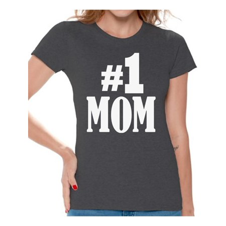 Awkward Styles Women's #1 Mom Graphic T-shirt Tops for Best Mom In The