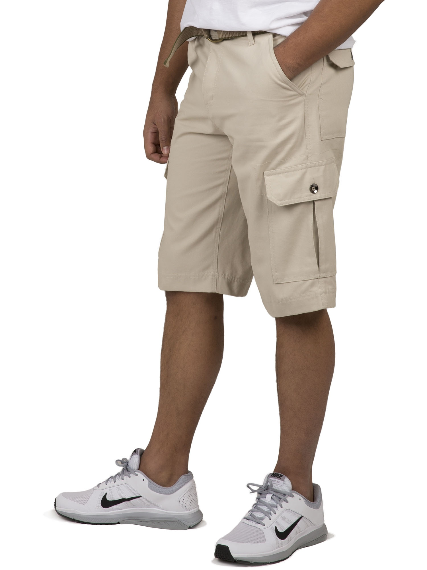 """Vibes Gold Label Men's Sand Heavy Canvas Fashion Cargo Belted Shorts 13"""" Inseam"""