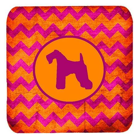 Kerry Blue Terrier Chevron Pink And Orange Foam Coasters - Set 4, 3.5 x 3.5 In. - image 1 de 1