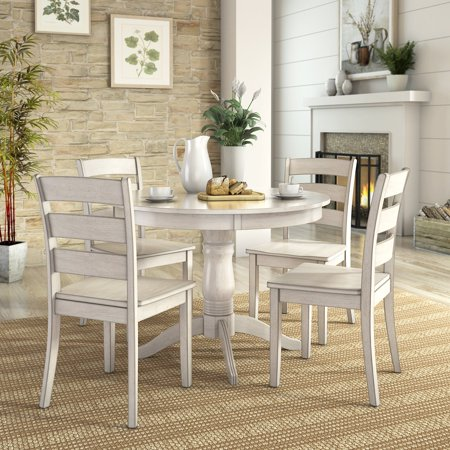 Lexington 5 Piece Dining Set With Round Table And 4 Ladder Back