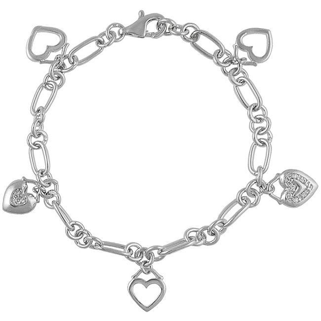 Journee Collection Journee Sterling Silver Dangling Heart Charm Bracelet