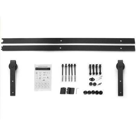 6FT Heavy Duty Sturdy Sliding Barn Wood Door Basic Sliding Track Rail Hardware Kit Antique Style Super Smoothly and Quiety POM Pulley Wheels Hanger Roller Easy to Stall with Installation Manual - image 6 of 6
