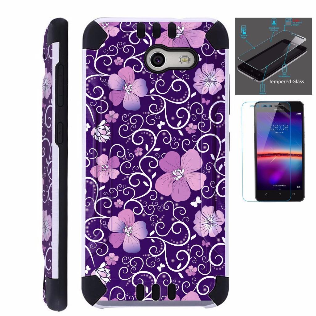 For Alcatel Zip Case + Tempered Glass Brushed Metal Texture Hybrid TPU KombatGuard Phone Cover (Purple Flowe Vine)