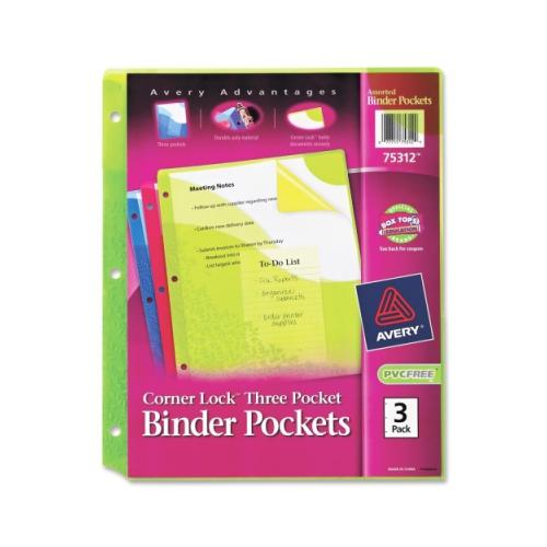 Avery Corner Lock Three Pocket Binder Pockets 75312, Assorted, Pack of 3 AVE75312