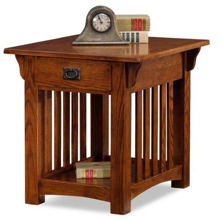 Leick Home Solid Ash Mission End Table with Drawer