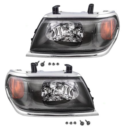 Driver and Passenger Headlights Headlamps Replacement for Mitsubishi SUV  MR566767 MR566768