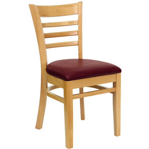Ladder Back Chairs - Set of 2, Natural / Burgundy Vinyl Seat