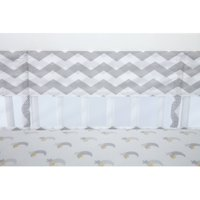 Little Love Secure Me Crib Liner, Grey Chevron Print