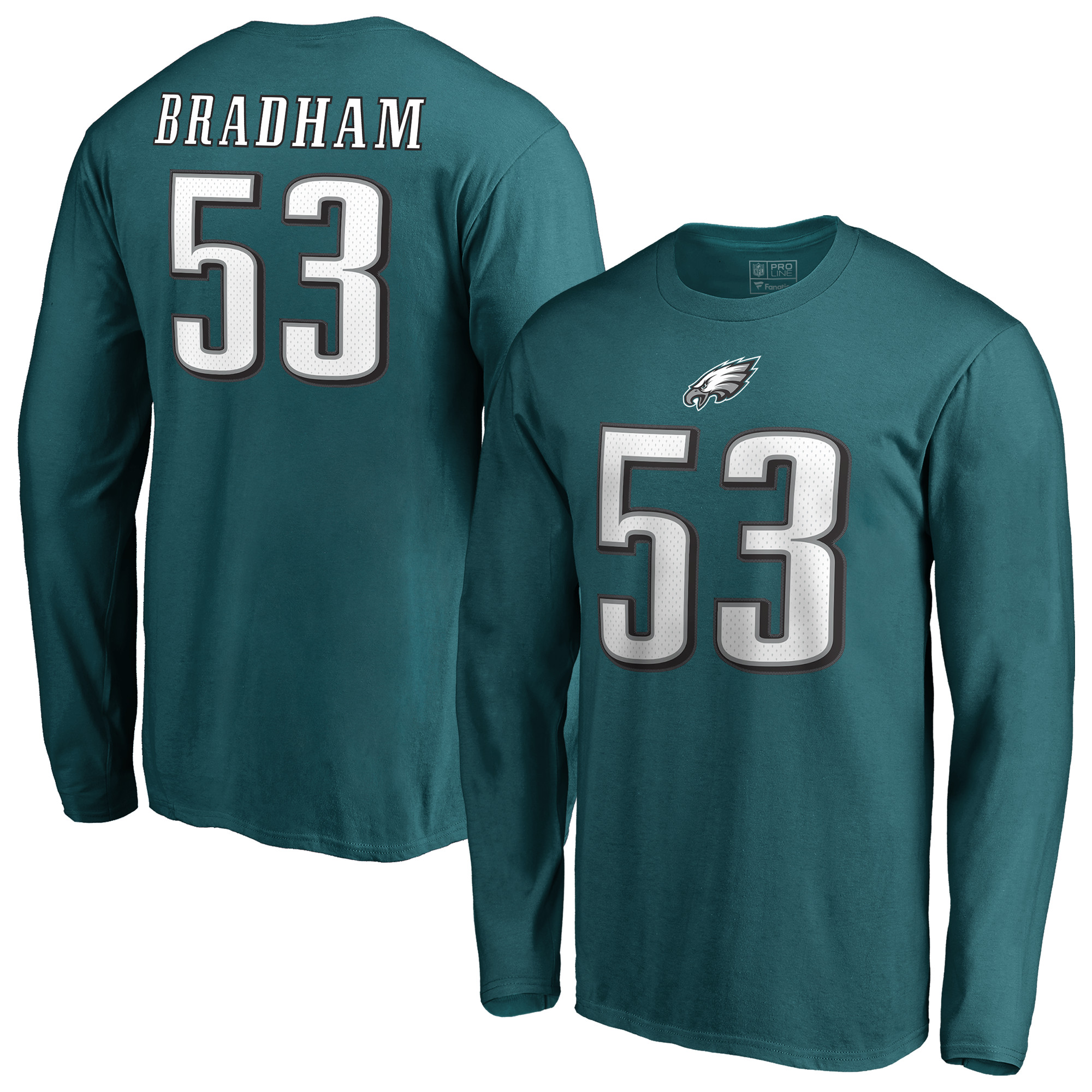 Philadelphia Eagles NFL Pro Line by Fanatics Branded Authentic Stack Name & Number Long Sleeve T-Shirt - Midnight Green