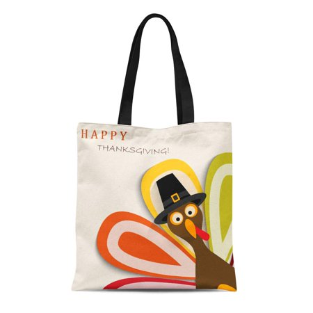 SIDONKU Canvas Tote Bag Green Day Happy Thanksgiving Turkey Yellow Dinner America Durable Reusable Shopping Shoulder Grocery Bag
