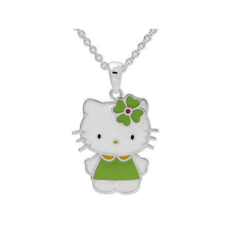 Hello Kitty Lucky Four Leaf Clover Pendant. GIFT BOX. Silver plate Beveled Leaf Collection Pendant