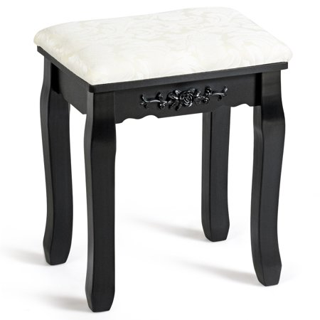 Costway Dressing Stool Vanity Makeup Pad Cushioned Chair Black ()