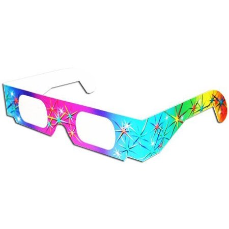 3D July Fourth Fireworks Glasses w Rainbow Frames Pattern Diffraction Lenses- Pack of 10, Colorful Rainbow Spectrum Frames By 3Dstereo Glasses