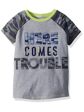 1940fee1 Product Image Mud Pie Baby Boys Camo Short Sleeve T-Shirt Trouble, Green  LG/ 4T