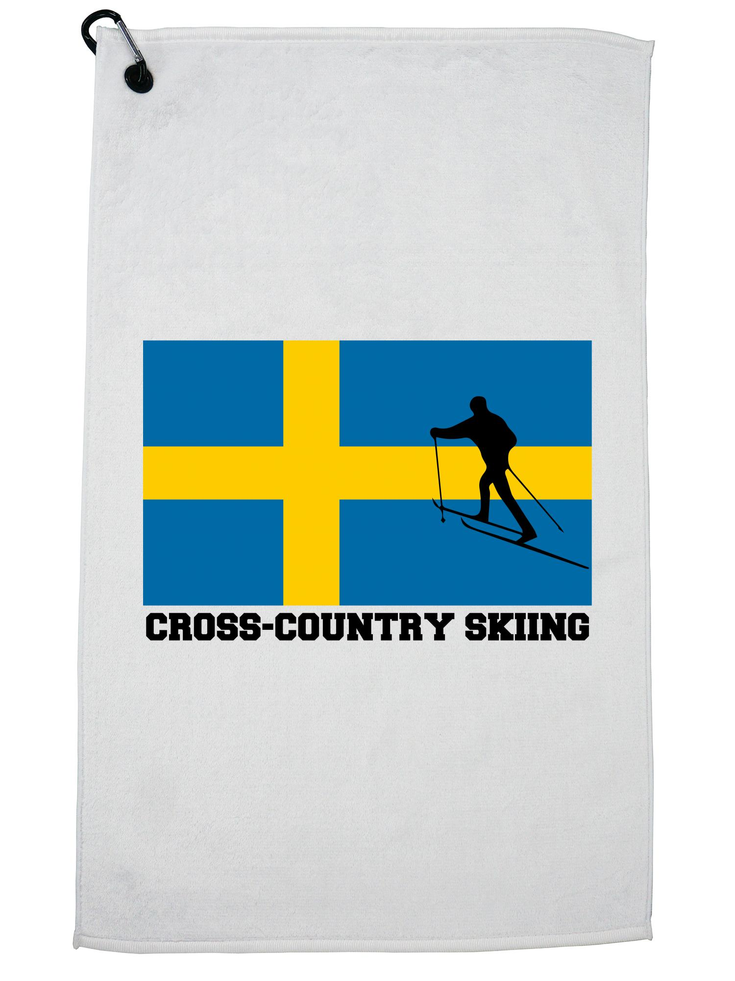 Sweden Olympic Cross-Country Skiing Flag Silhouette Golf Towel with Carabiner Clip by Hollywood Thread