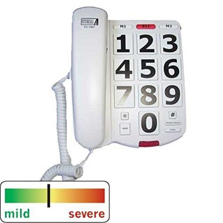 FCC Approved 40dB Extra Large Button Easy To Use Red 911 Emergency Help Special Needs House Telephone For Low Vision Sight Visually Hard Of Hearing Impaired Elderly Seniors Citizen Old People
