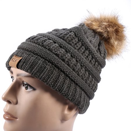 Knitted Hat for Women Men , Fashionable Knitted Cap Faux Raccoon Fur Pompom Winter Hat For Keeping Warm](Raccoon Hat)