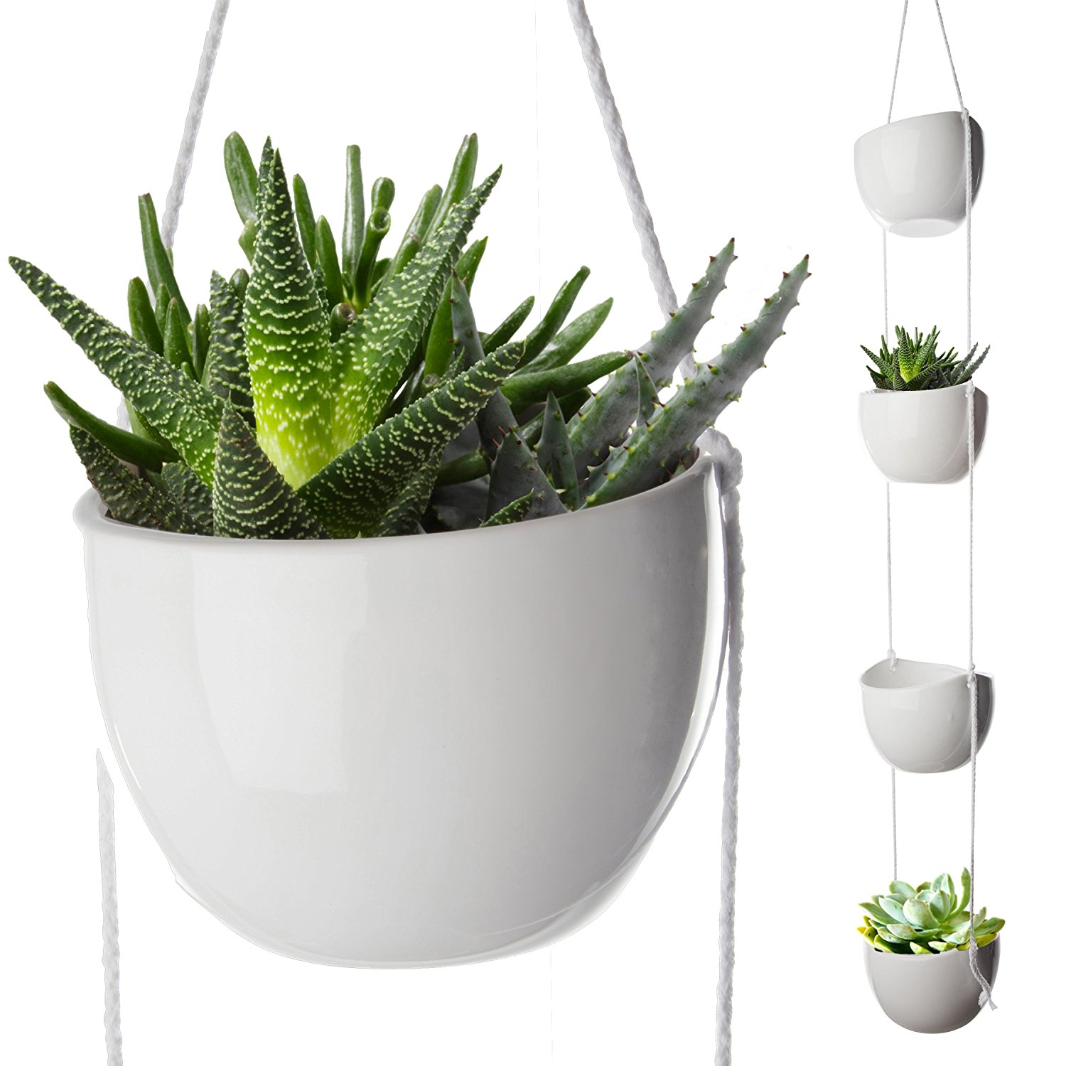 4 Piece Modern Ceramic Hanging Planter Set, Succulent Plants Pots, Decorative Display Bowls, Flowerpot Containers for... by California Home Goods