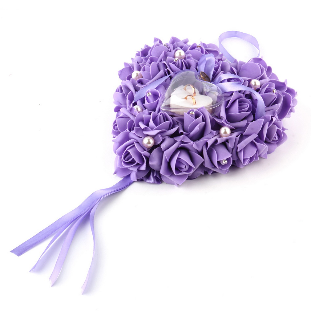 New Romantic Rose Wedding Favors Heart Shaped Gift Ring Box Pillow Decoration Purple