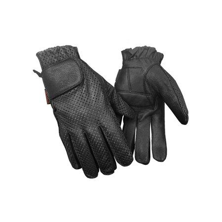 - Redline Men's Gel Padded Full-Finger Motorcycle Leather Gloves, Black G-055PR