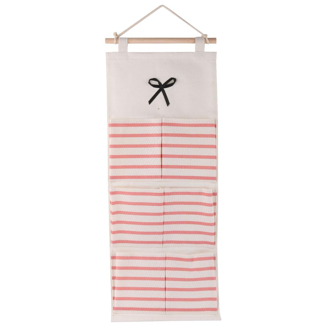 Dormitory Wall Stripe Print 6 Pockets Sundry Key Holder Hanging Bag Case Pink - image 4 of 4