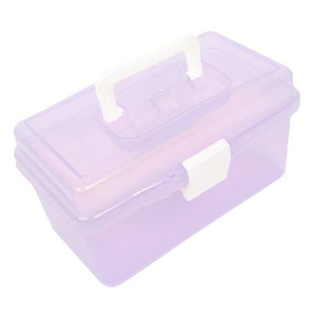 Hard Plastic Case DIY Hand Tool Storage Box Clear Purple 7.1