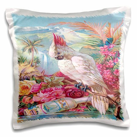 Palais Rose (3dRose Florida Water Perfume Poster with Roses, a Palm Tree and a Cockatoo, Pillow Case, 16 by)