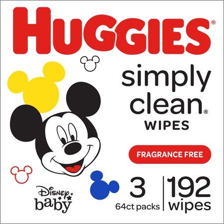 HUGGIES Simply Clean Baby Wipes, Fragrance Free, 3 packs of 64, 192 Ct