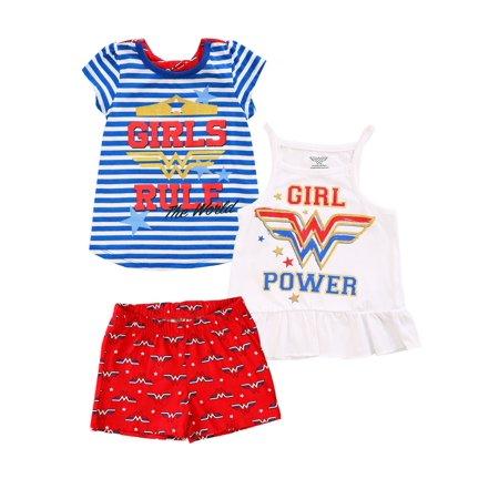 DC Comics Wonder Woman 3 Piece Girl's Rule Short Set
